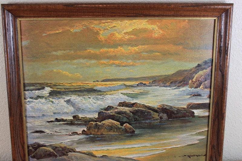 Vintage Framed Seascape Litho Print Sunset By