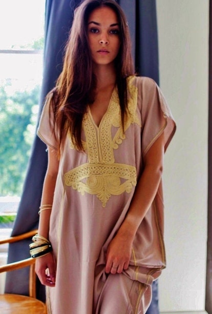 Trendy Beige Marrakech Resort Caftan Kaftan beach cover ups resortwearmaxi dresses birthdays honeymoon maternity gifts