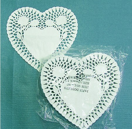 6.5inch Heart shaped Paper Doily - rose (1pack 250 sheets)