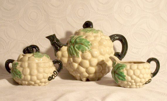 Vintage Occupied Japan Tea Set with Grape Theme
