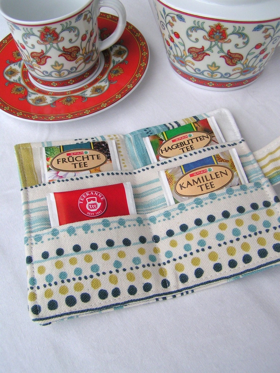 Tea Bag Wallet - Mini Wallet - turquoise stripes and polka-dots