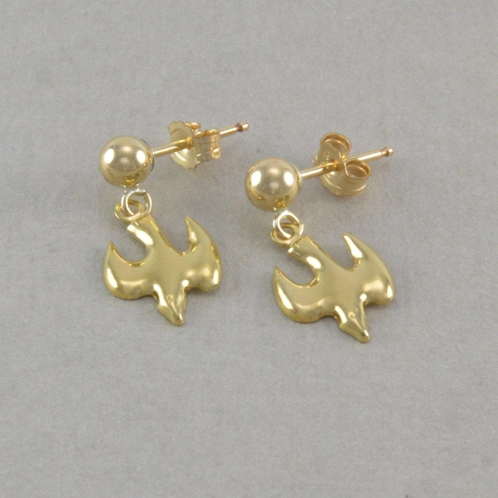 little girls dove earrings 14k gold posts by. Black Bedroom Furniture Sets. Home Design Ideas