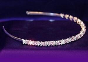XOXO Bridal Pink Swarovski Crystal Headband Tiara