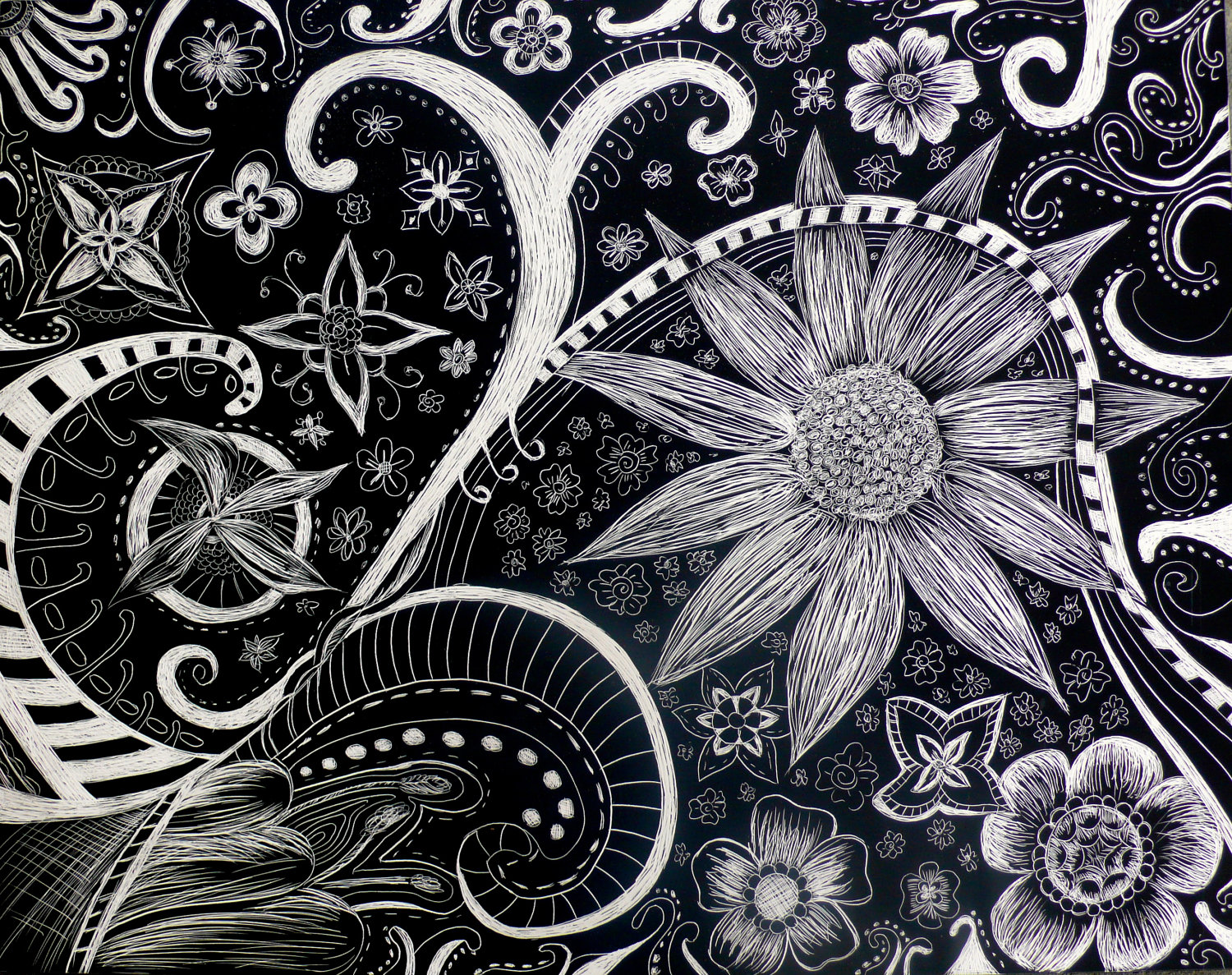 Flowers And Swirls Abstract Scratchboard Drawing Available On Etsy