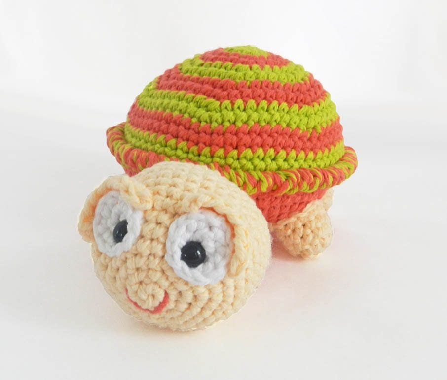Crochet Amigurumi Stuffed Animal Turtle Plush - Striped - Custom Made - HerterCrochetDesigns