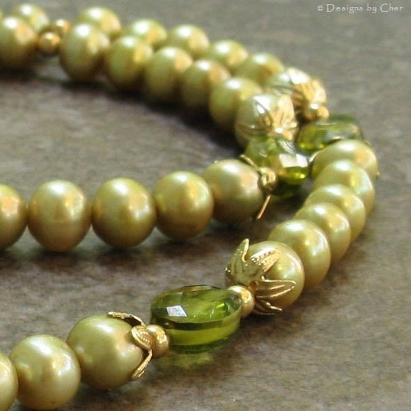 Wasabi Freshwater Pearl & Olive CZ Necklace by designsbycher from etsy.com