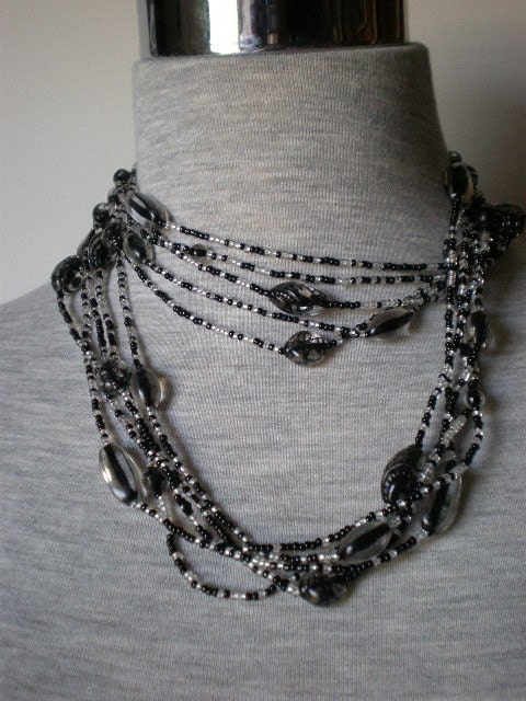vintage necklace with clear, black, and white seed beads