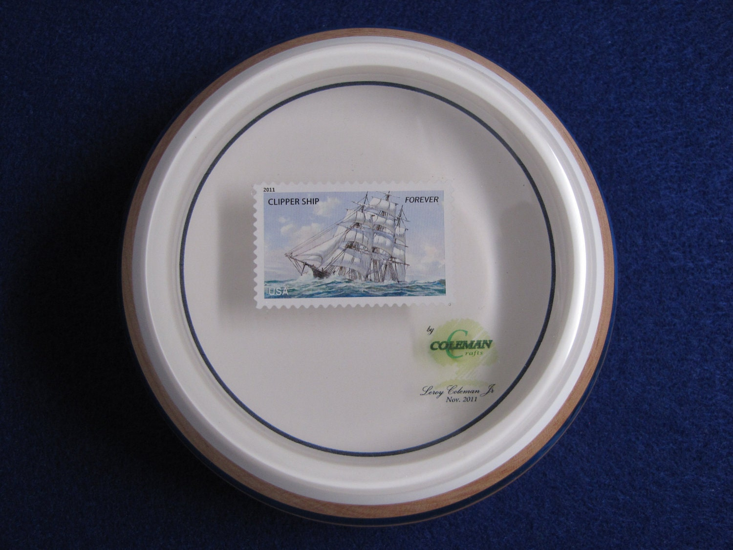 HARDMAPLE Bowl With CLIPPER SHIP (2011) Stamp Embeded