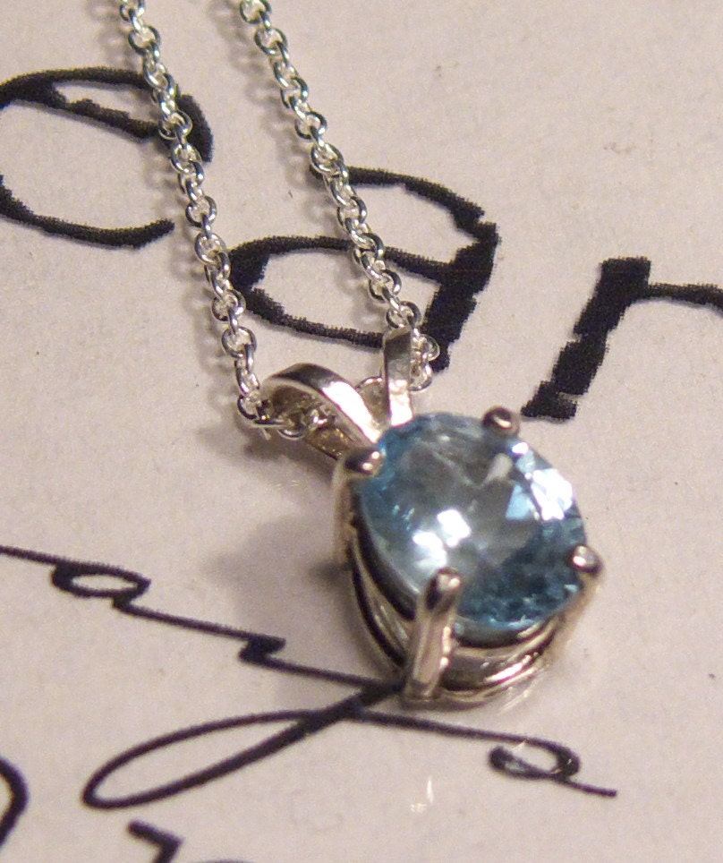 Baby Blue Topaz Gemstone Pendant sterling silver chain 18 inches