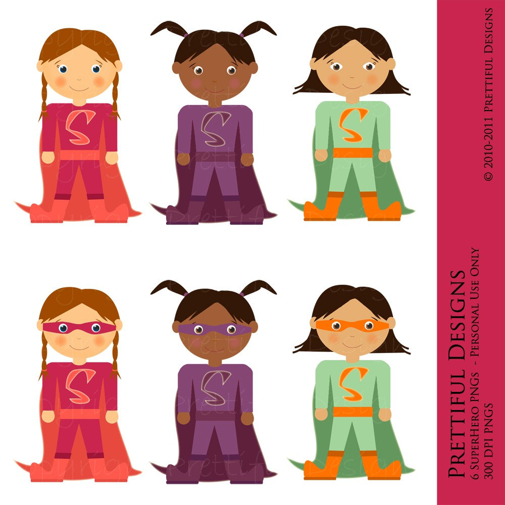 Superhero Girls Digital Clipart - Great for Paper Dolls, Birthday Invitations, Scrapbooking, Cards