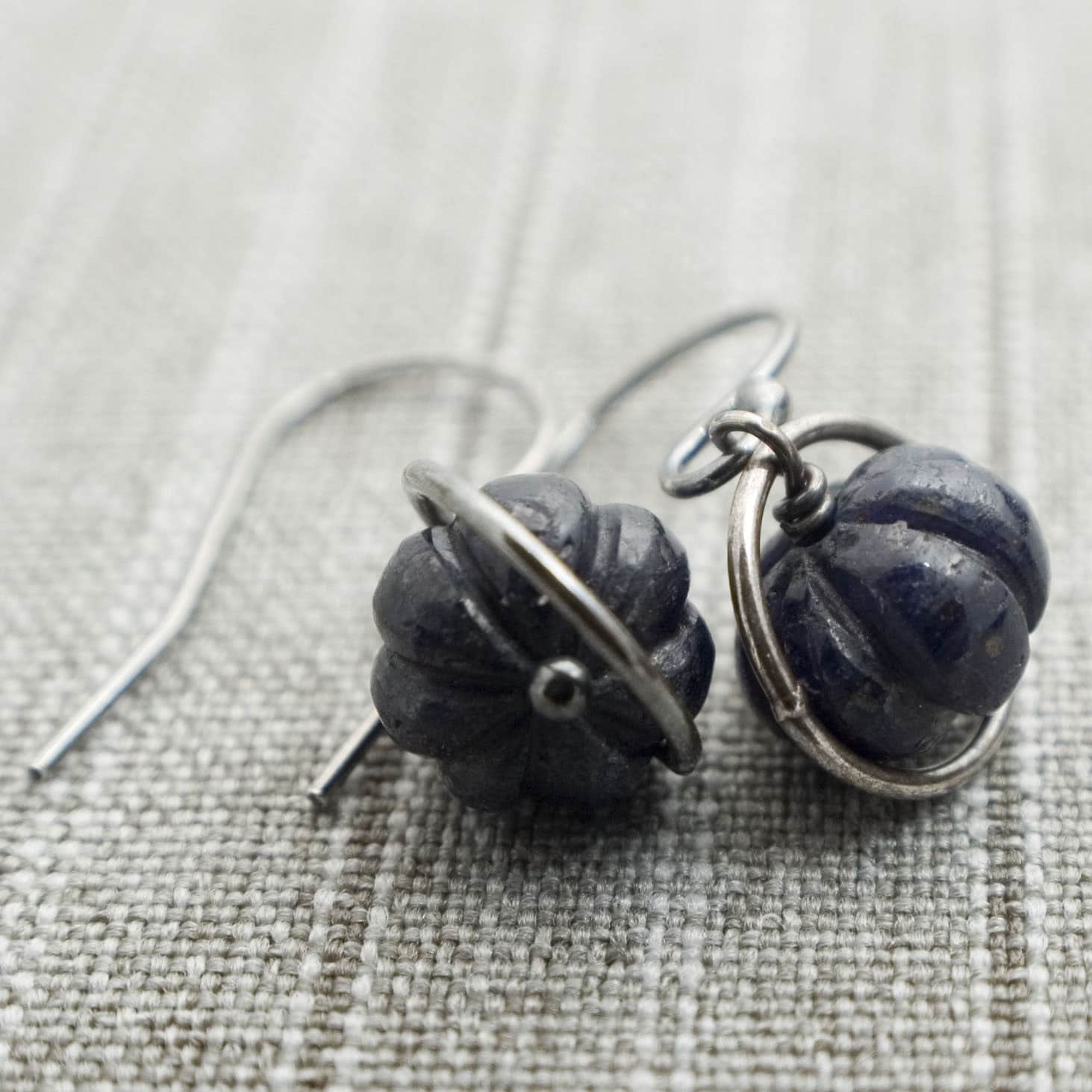 Goodnight, Cinderella Earrings - Sapphire and Sterling Silver