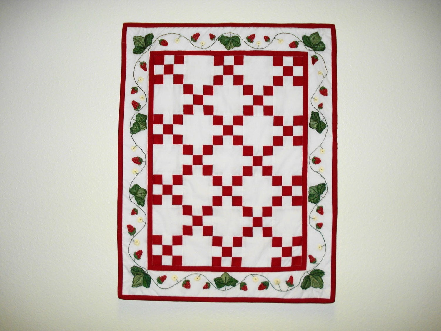 Hand Embroidered Strawberry Fields Quilt
