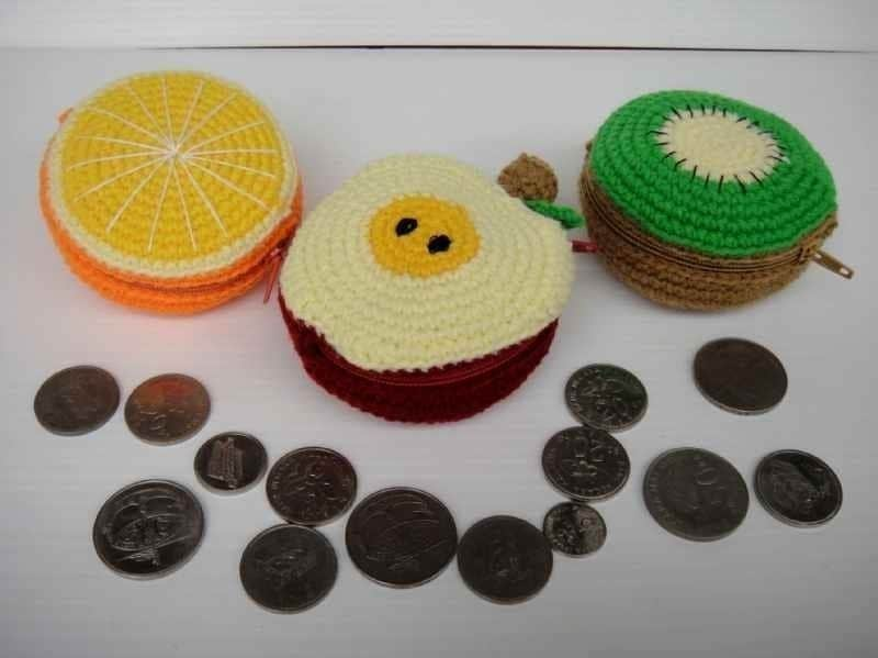 Crochet Pattern - FRUIT PURSE 1 - Orange, Apple and Kiwi - PDF
