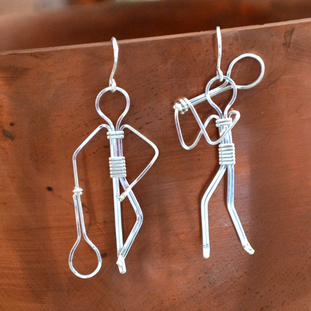 Sterling Silver Tennis player earrings by Untwisted Sister on Upcycle Fever
