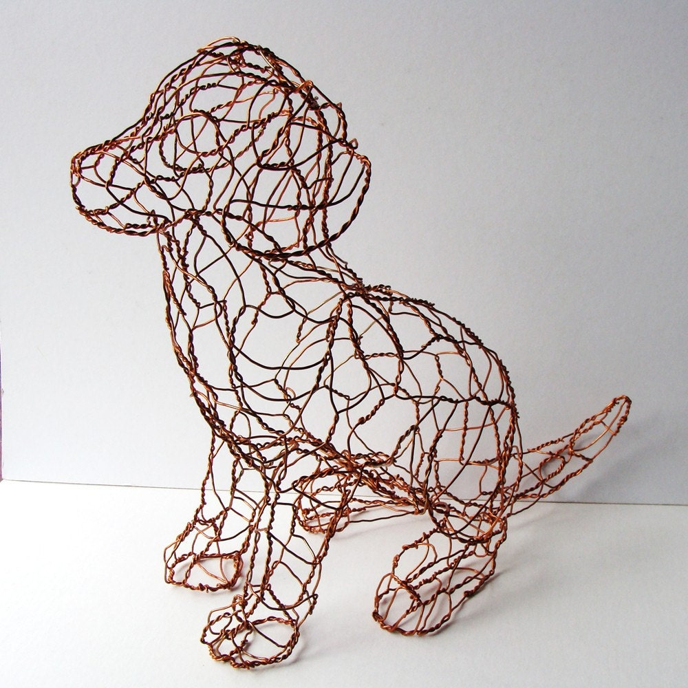 Copper Puppy  Wire Sculpture by sparkflight on Etsy