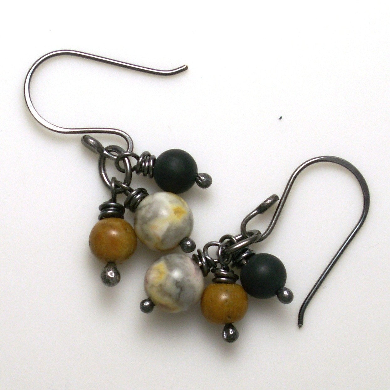 jewelry earrings earth tones black gray camel