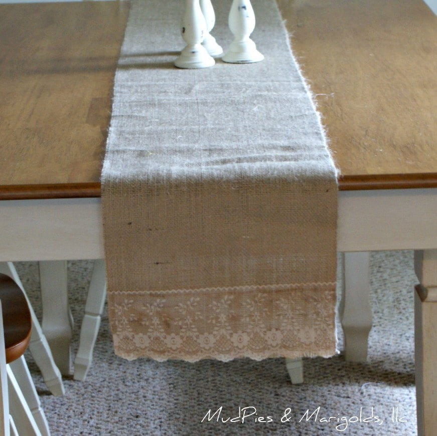 "Burlap and Lace Table Runner, 11' x 72"" size, rustic, shabby chic, cottage, farmhouse chic"