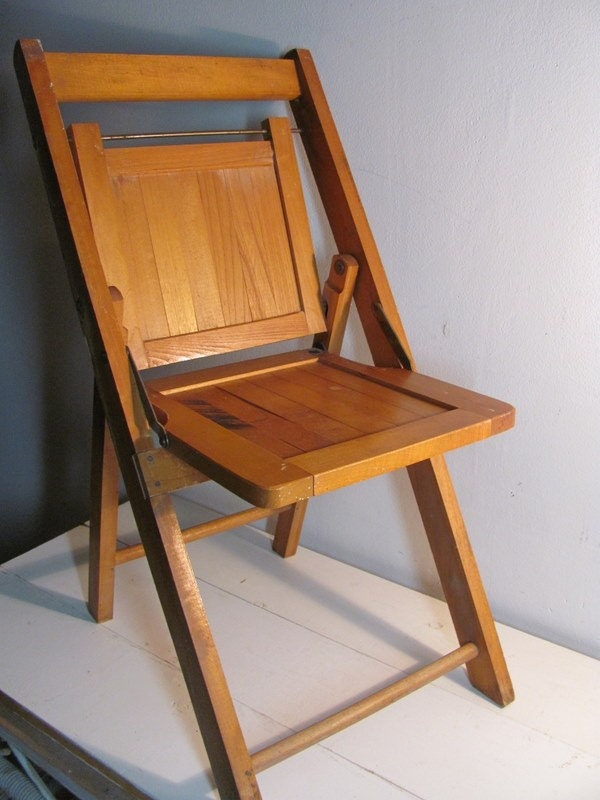 Antique Wooden Folding Chair for a Child by dirtybir svintage