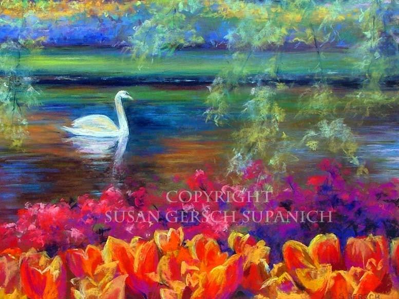 "Art Print  ""Netherland Swan"" colorful landscape painting 11 x  14 Susan Gersch Supanich"