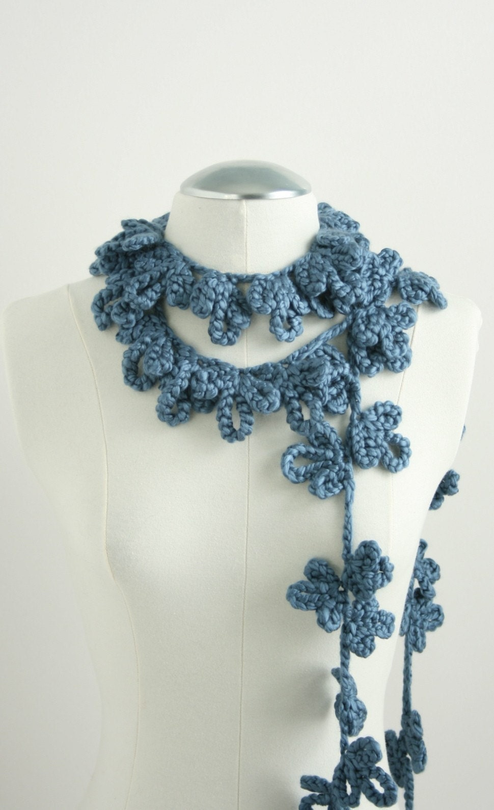 Blooming Vine Scarf in Blue Velvet