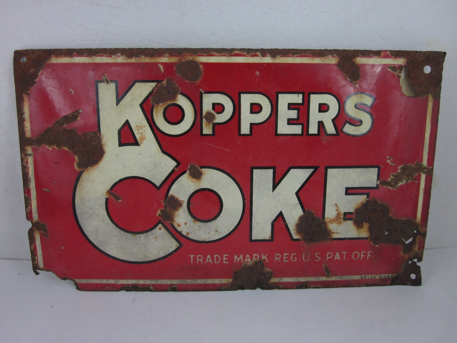 vintage heavy metal painted porcelain nelke sign, koppers coke, free shipping