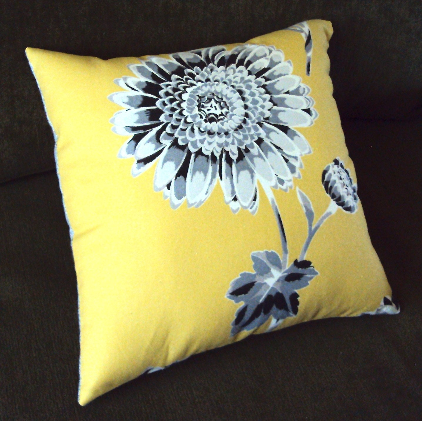 Mustard Yellow And Gray Mod Floral Fabric Pillow By Idari