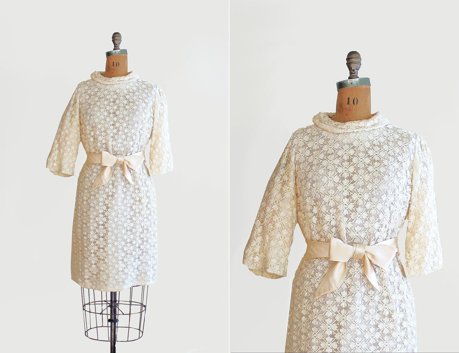 vintage creamy snowflake lace dress with satin bow belt