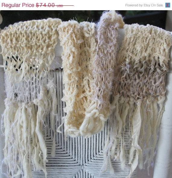 FINAL SALE SALE Hand Knit Scarf in Natural Soft Ivory Hand Spun Yarn  Hand Knit Scarf For Sale