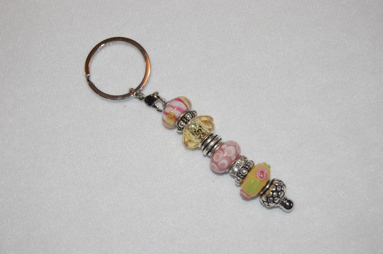 pink and yellow pandora style bead keychain by jennifersmuse