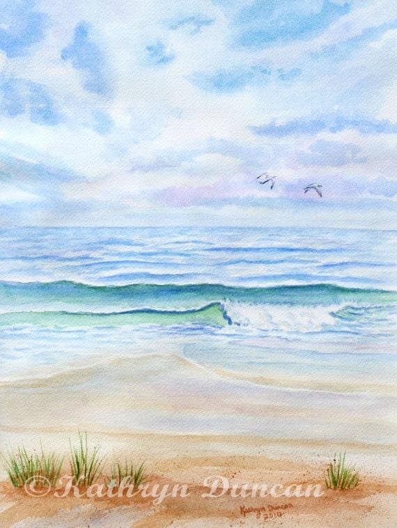 Ocean Beach Original Watercolor Painting Blue By