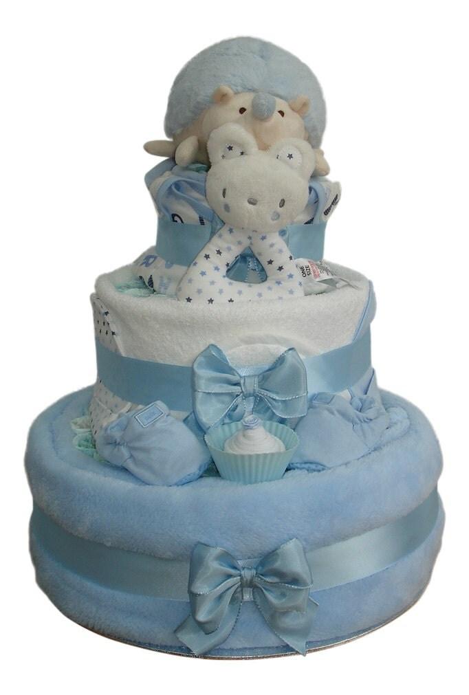 Harry Hedgehog Three Tier Blue Fluffy Nappy Cake Baby Boy  Baby Shower Gift