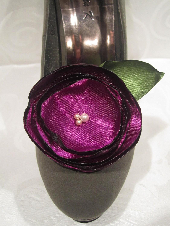 Vibrant purple satin flower shoe clips