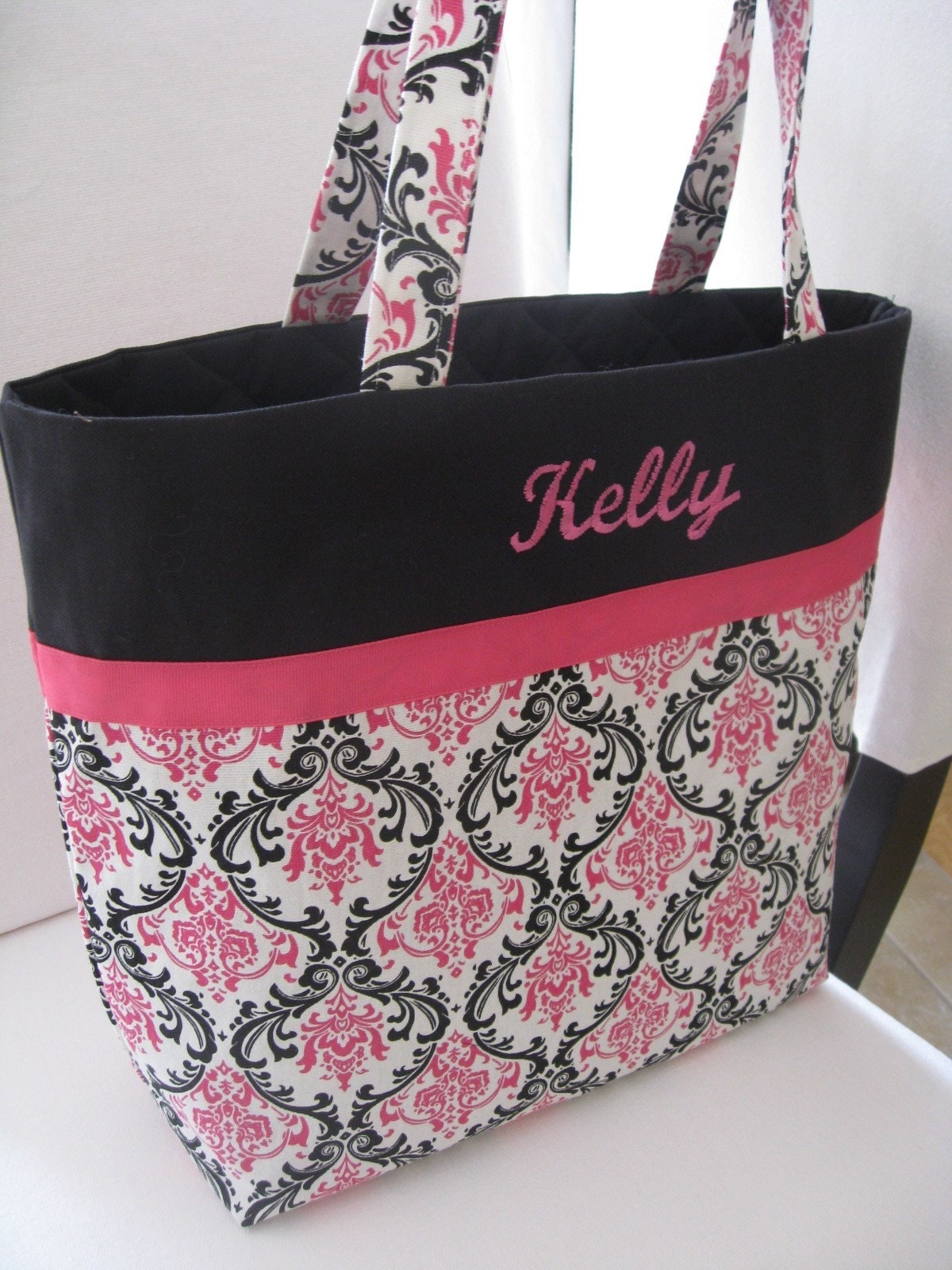 large embroidered tote bag pink and black damask by