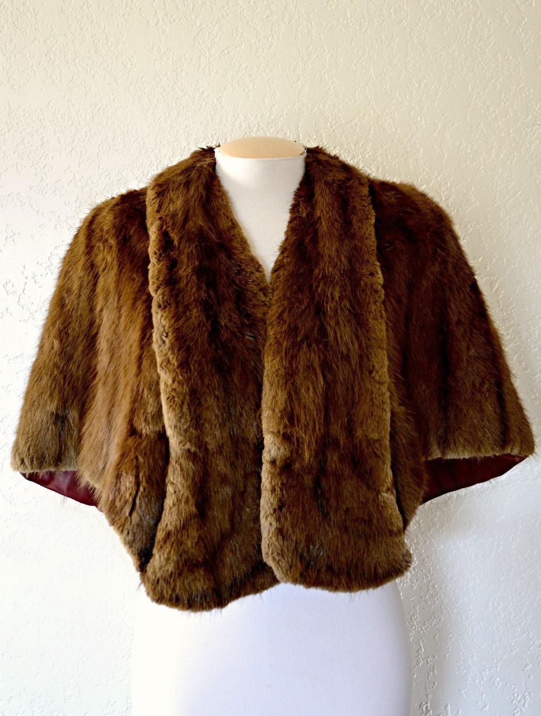 Vintage fur stole shrug wrap mink fur by meekvintage on etsy - Stoel fur ...