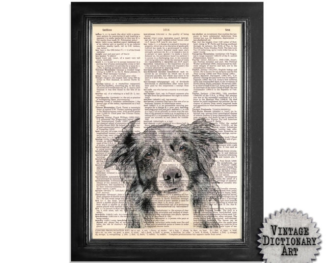 The Border Collie - A Vintage Dictionary Paper Print - 8x10.5 - Dictionary Art Print on vintage dictionary book page of paper - VintageDictionaryArt