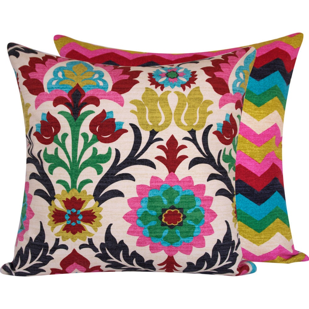 Floral Colorful Throw Pillow Cover 20x20 By