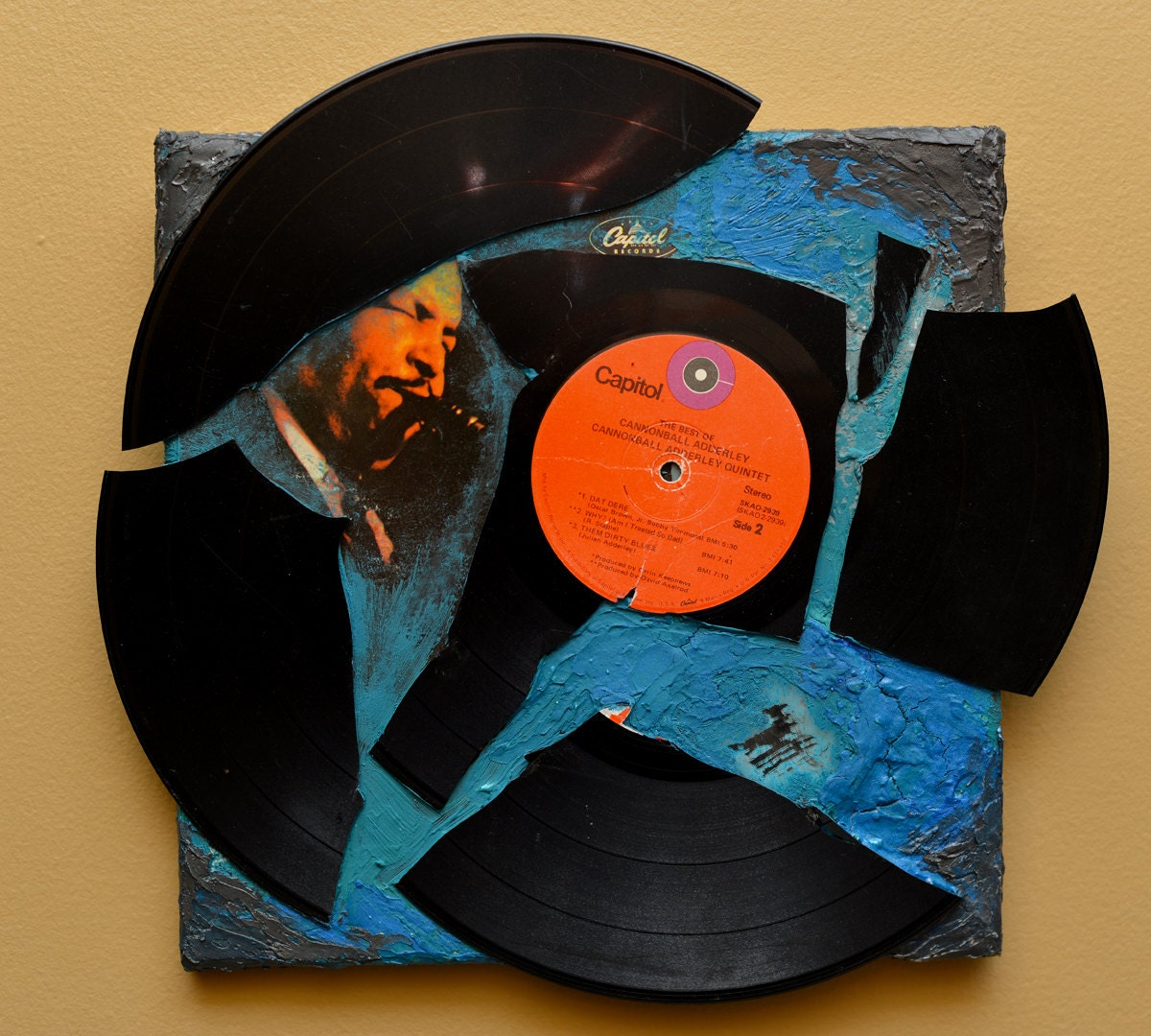 NEW - Dat Dere - Broken Record on Canvas - recycled art - funnychord