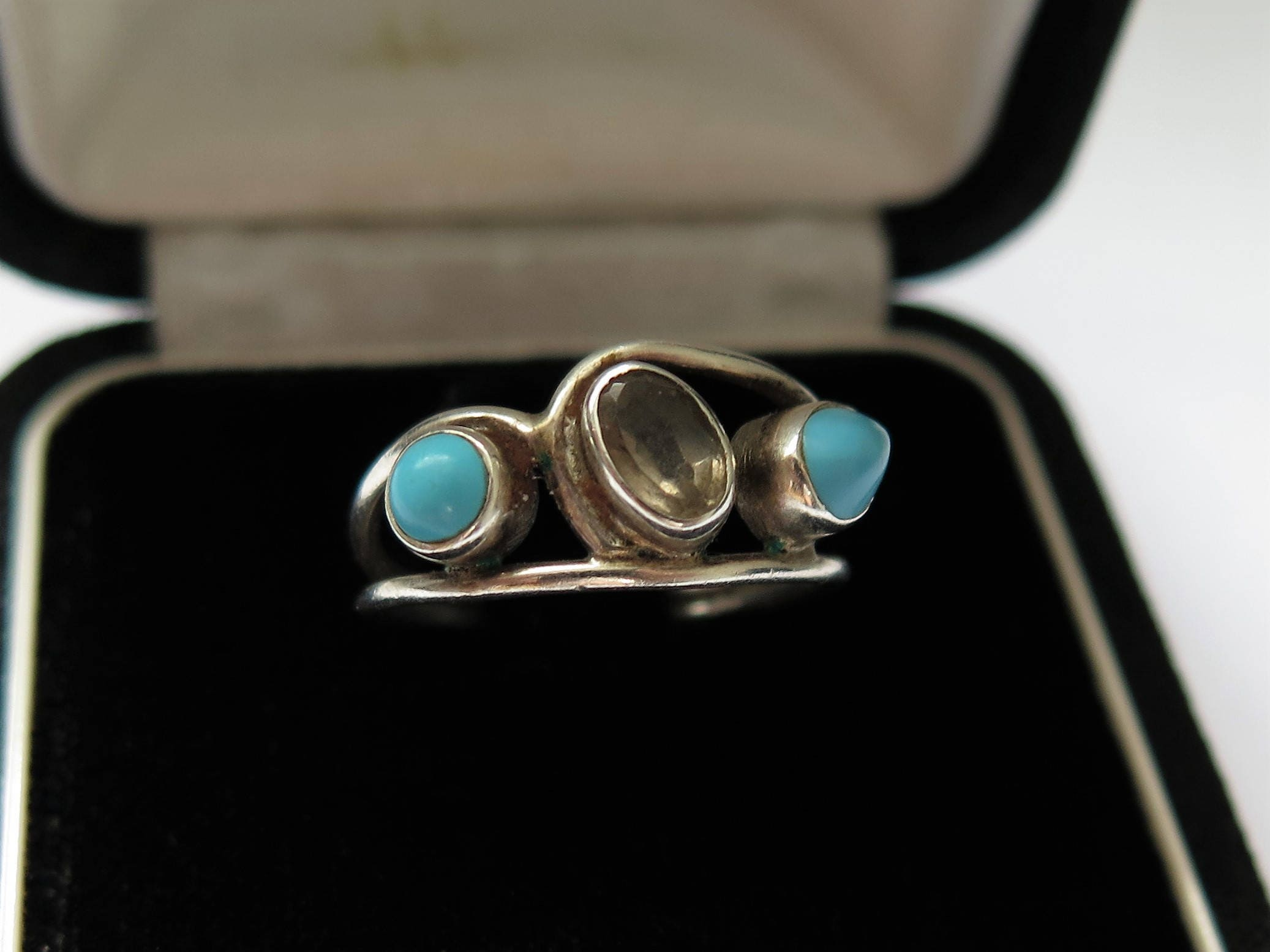 Vintage Turquoise And Smoky Quartz Silver flower Ring Size N6 34 1970s80s Jewellery Jewelry
