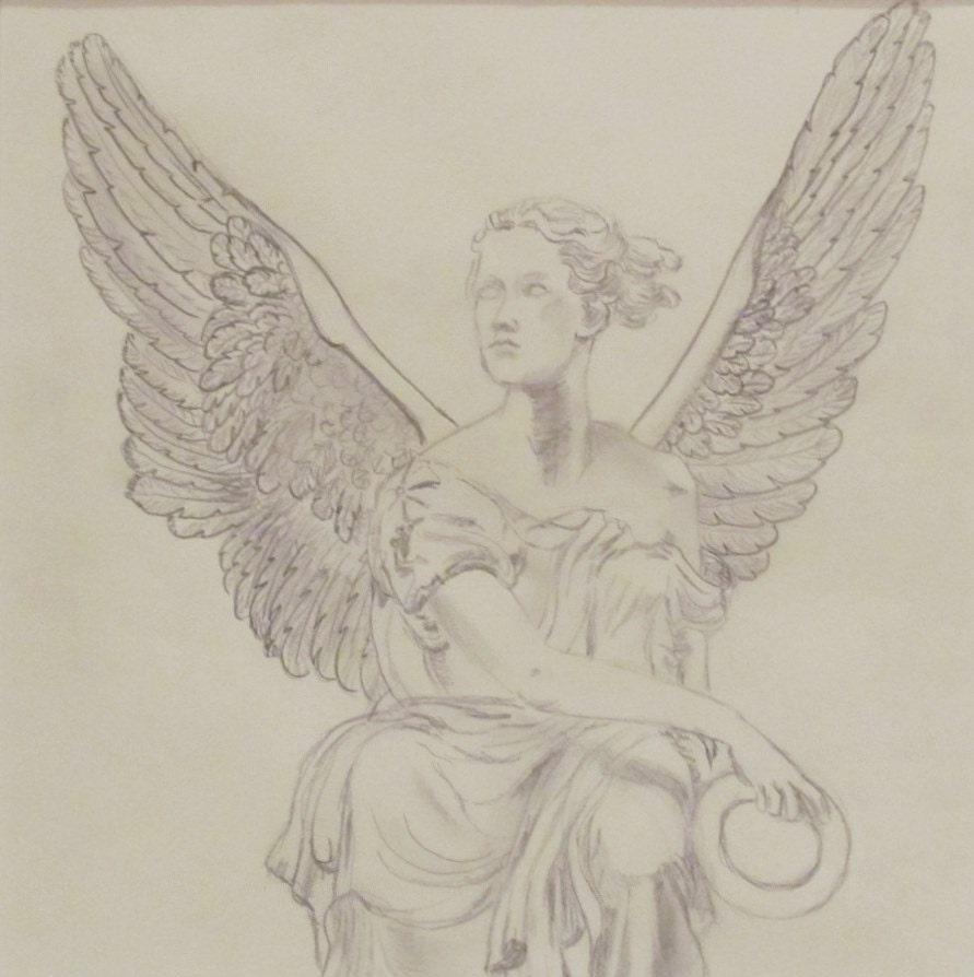 Items similar to Guardian Angel, Original Pencil Drawing ...