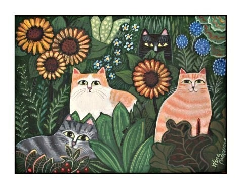 GARDEN CATS Kitty Cat Print SIGNED ART PRINT Striped FELINE FLOWERS FUN