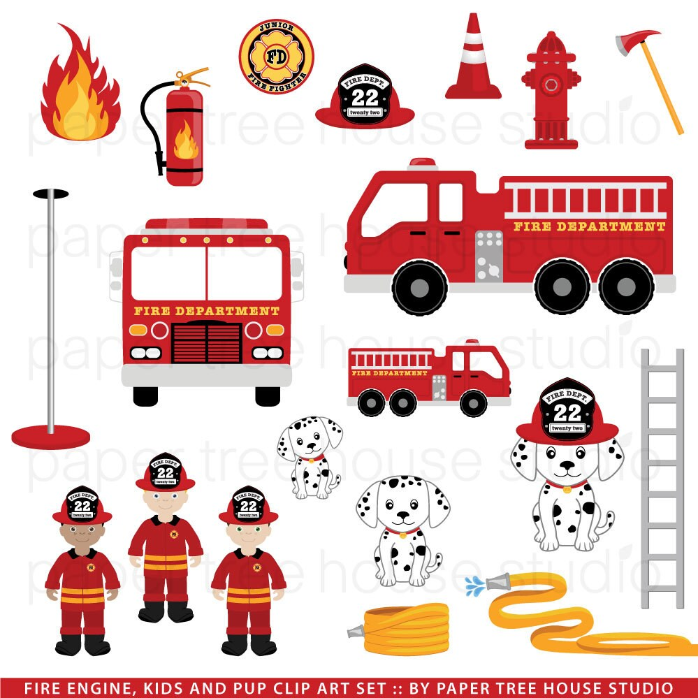 Clip Art Set - Fire Station, Truck and Rescue Pup - Junior Fire ...