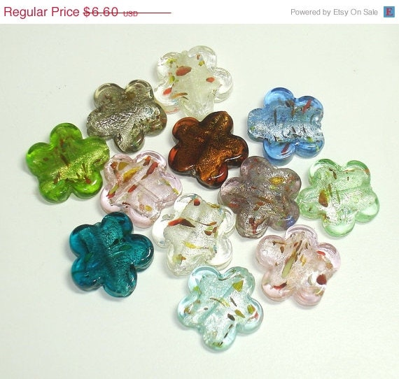 ON SALE Lampwork Flowers (12 pcs) 25mm - AshiraBeads