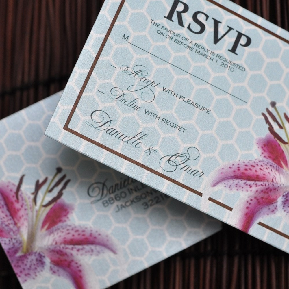 Deposit - Passport Invitation (Traditional Blue with Lily)