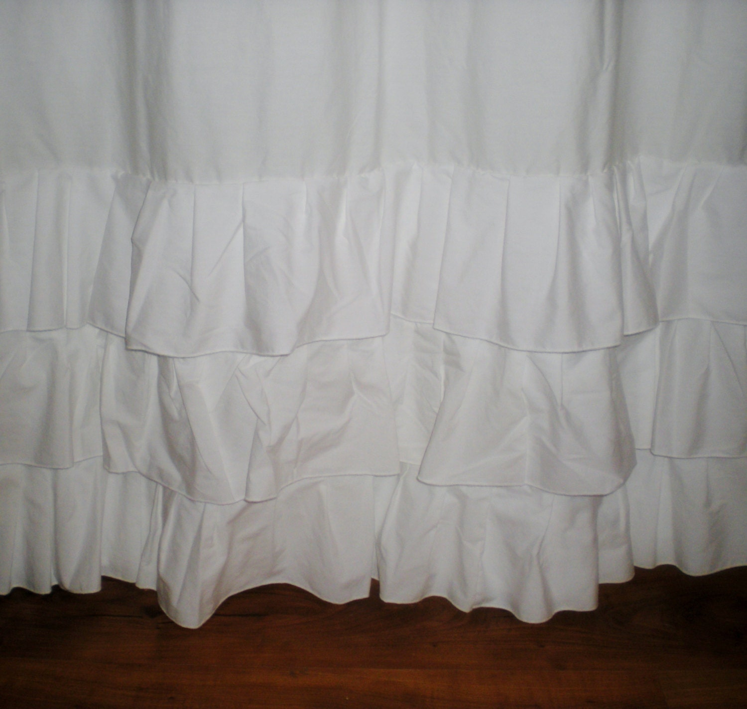 Adorable White Ruffle Frilly Cotton Curtains By Daintycotton