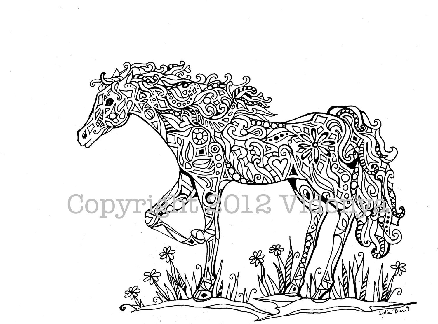 Horse Coloring Page From Vidonya On Etsy