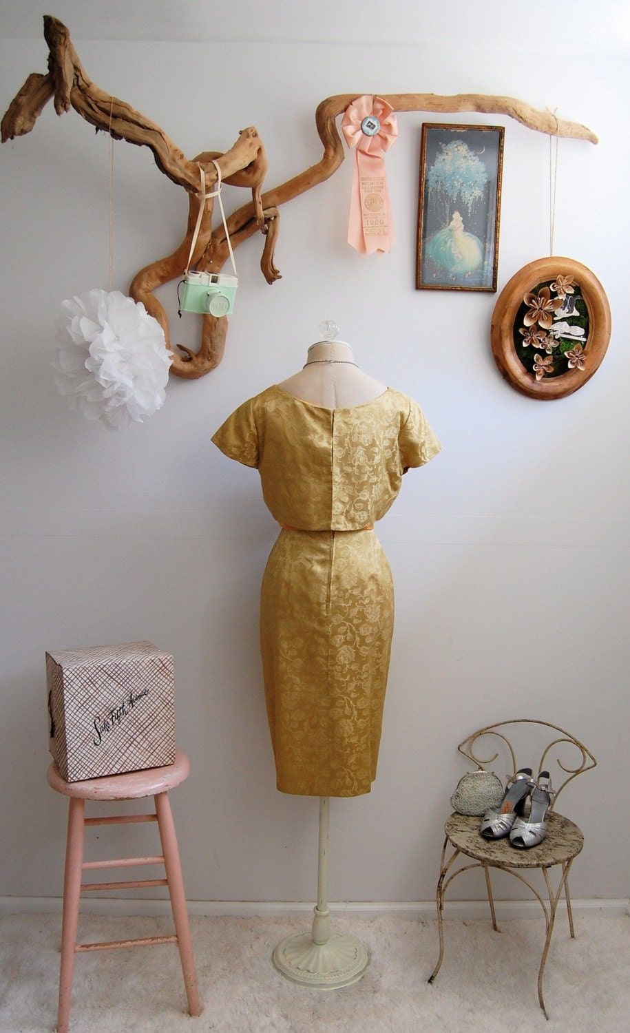 The Gracie- Vintage 1950s Golden Brocade Wiggle Dress L