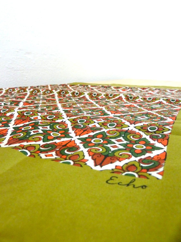 Vintage Echo Silk Scarf / Geometric Print Scarf / Olive Green Scarf / Head Scarf / Silk Headband / Geometric Ascot - VintageEdition
