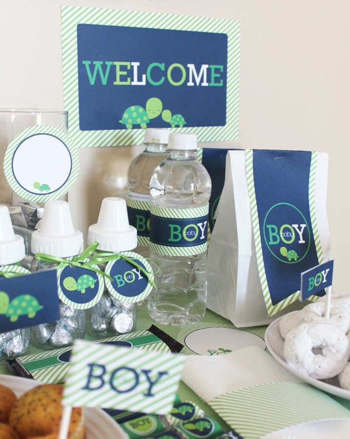 stockberry studio turtle boy baby shower printable package