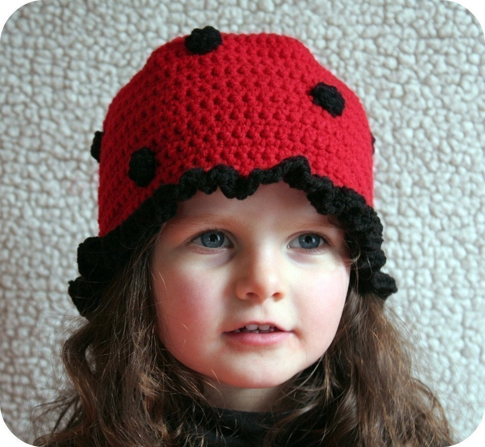 Crochet Pattern Baby Cowboy Hat Free : Baby Girl Hat CROCHET PATTERN Animal LADYBUG by TooCuteCrochet