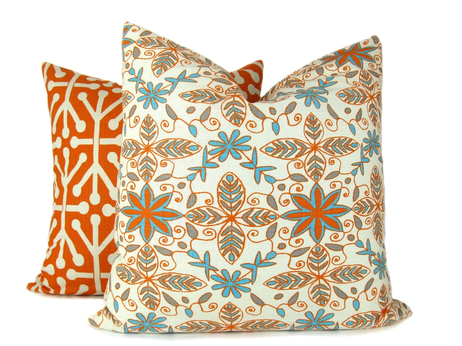 Decorative Orange Pillows TWO 20x20 Covers Coordinating Prints With Oranges light blues and creams